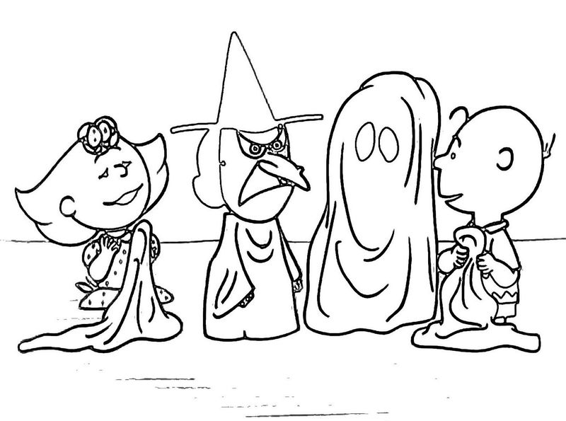 Charlie Brown Halloween Coloring Pages Scary