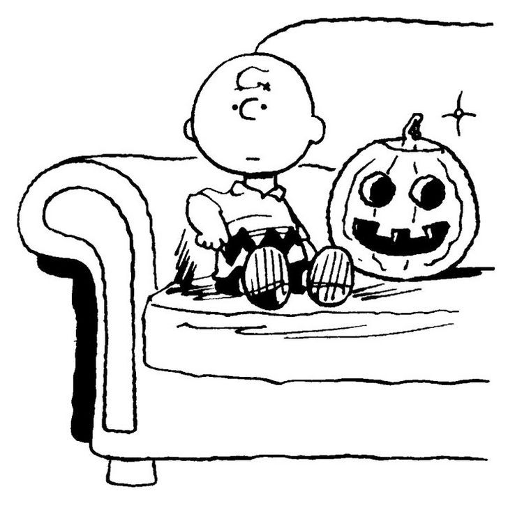 Charlie Brown Halloween Snoopy Coloring Pages Pumpkin