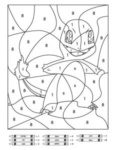 Charmander color by number coloring page