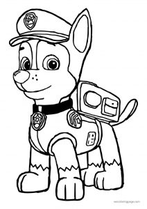 Chase police pup paw patrol police dog coloring page