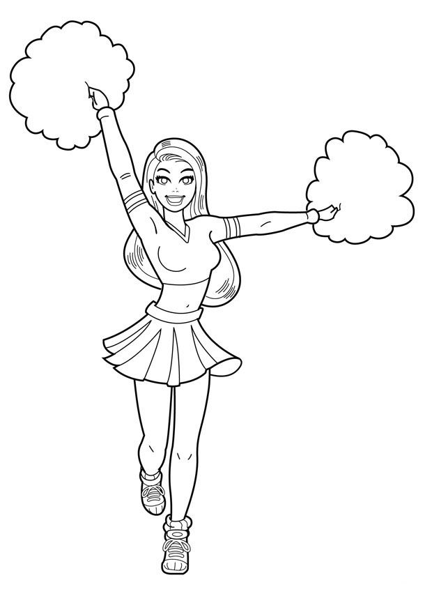 Cheerleader Coloring Pages For Kids Printable 001