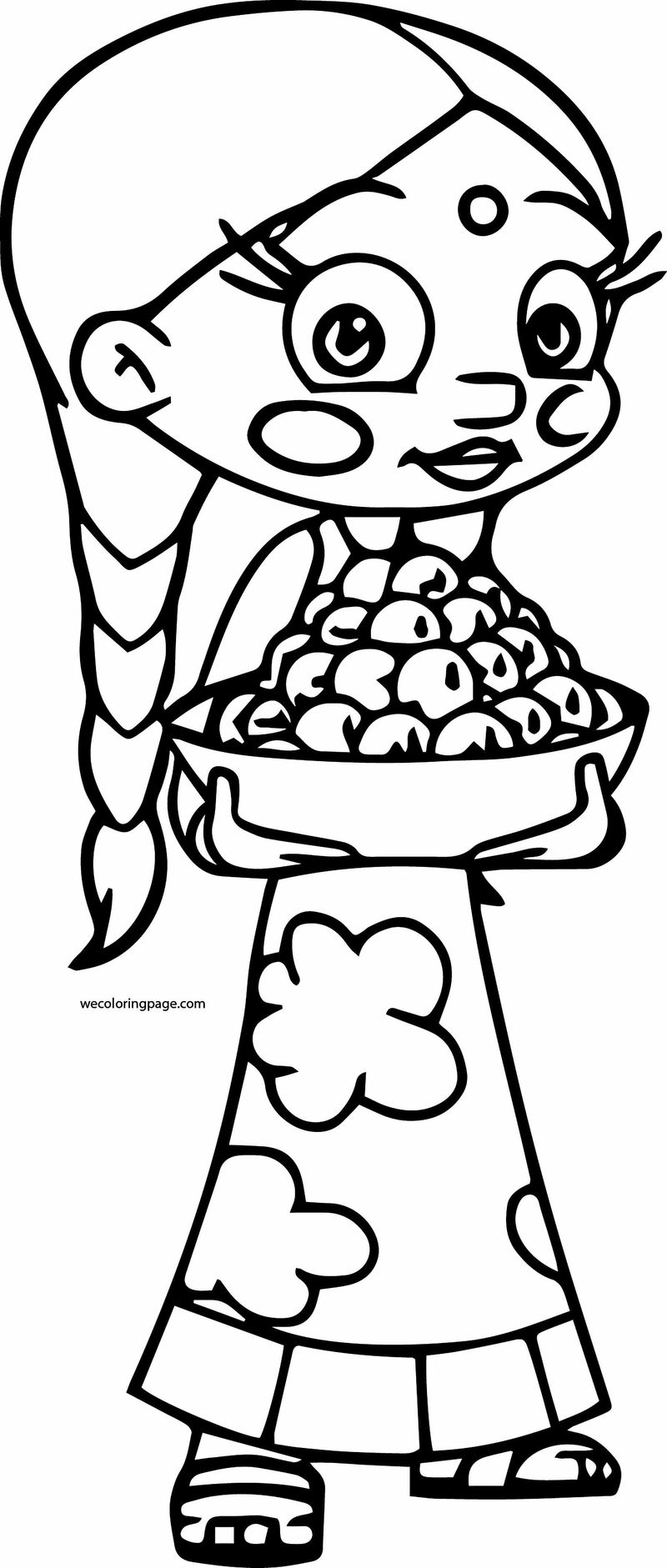 Chhota Bheem Coloring Page 44 Girl Carry Food Coloring Sheets