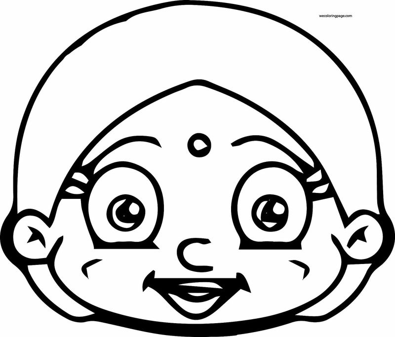 Chhota Bheem Girl Head Coloring Page