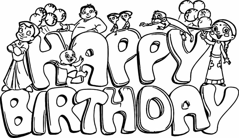 Chhota Bheem Happy Birthday Coloring Page