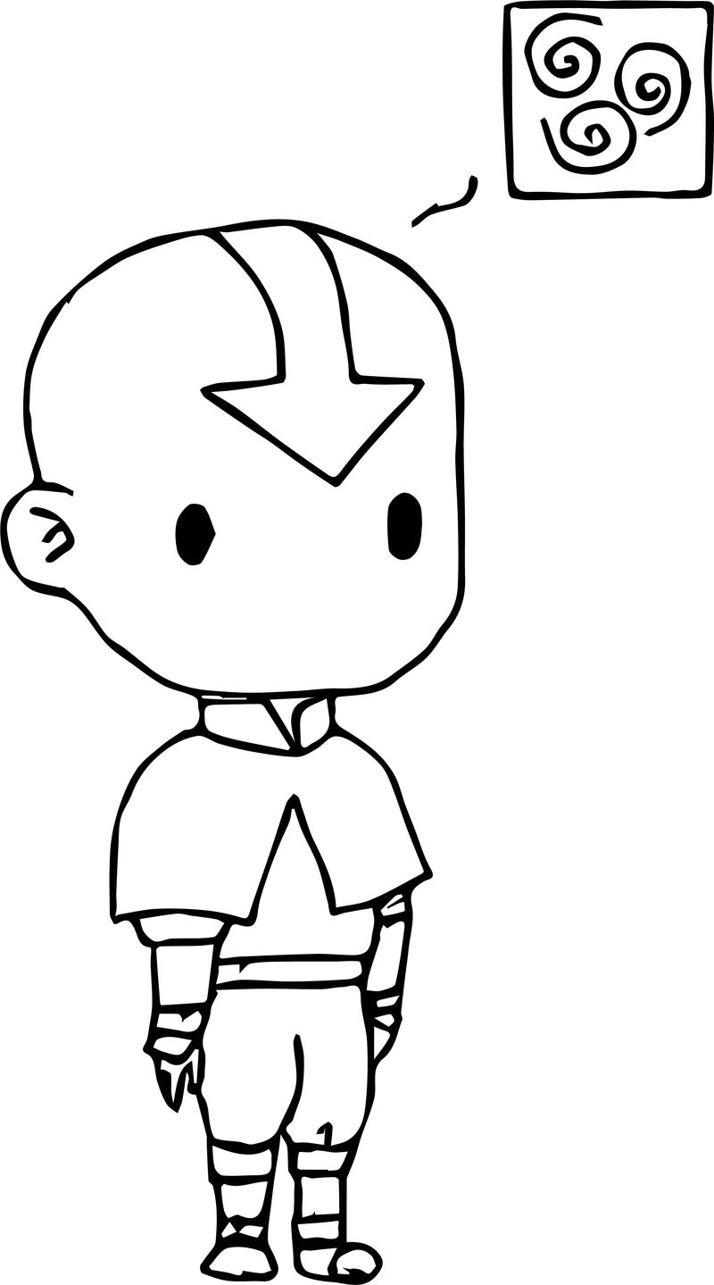 Chibi Aang Colored Pitlover Avatar Aang Coloring Page