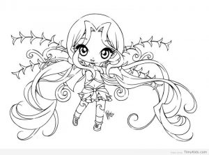 Chibi fairy coloring pages