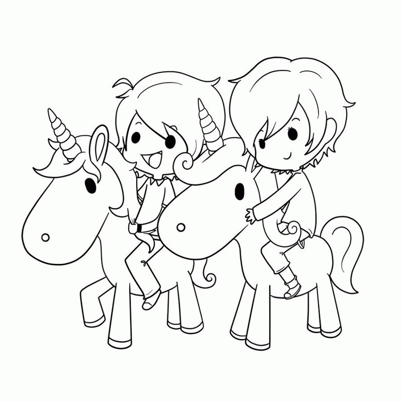 Chibi Kids Ricing Unicorns Coloring Page