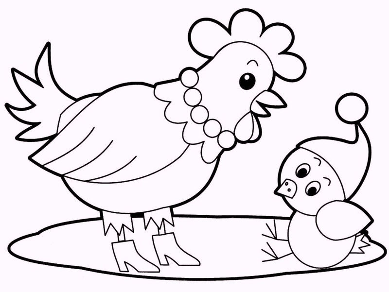 Chicken And Babies Coloring