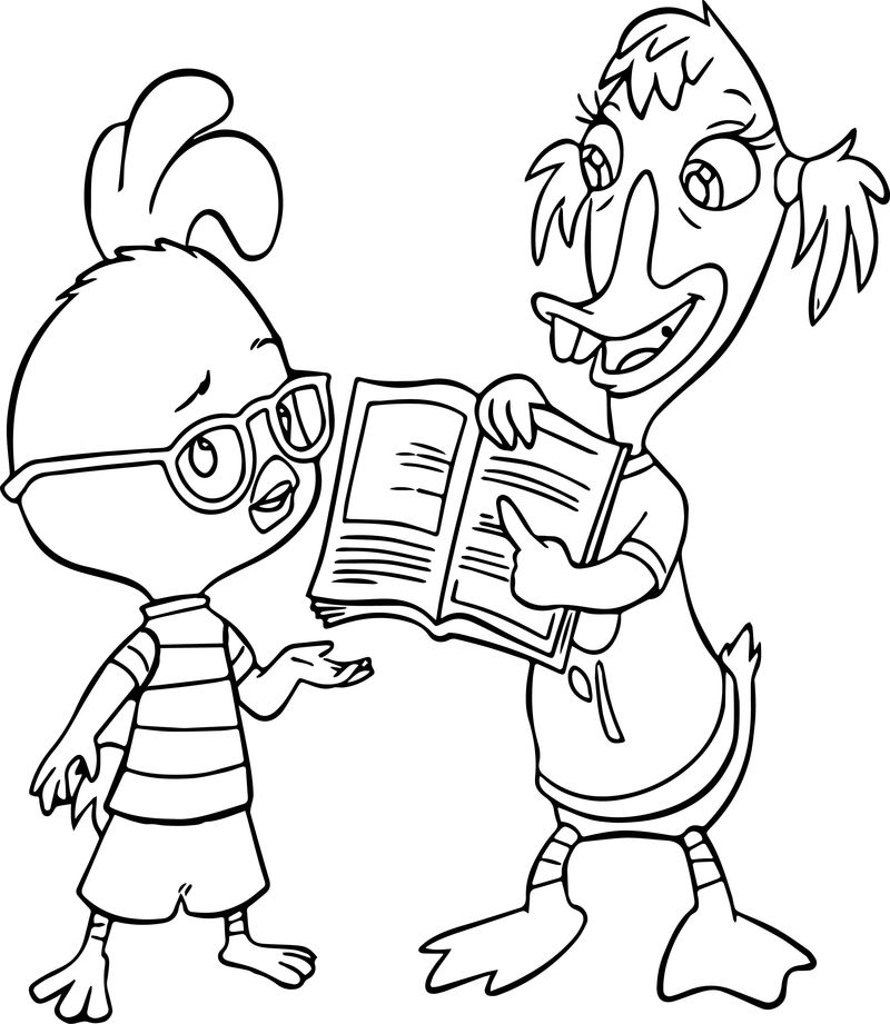 Chicken Little Ace Cluck Study Reading Coloring Page