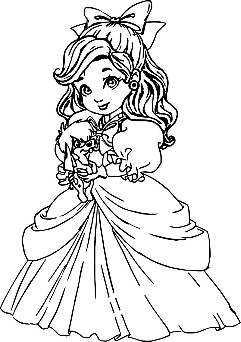 Child Anastasia And Cute Dog Coloring Page