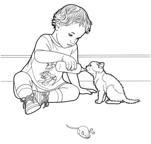 Child feeding kitten coloring page