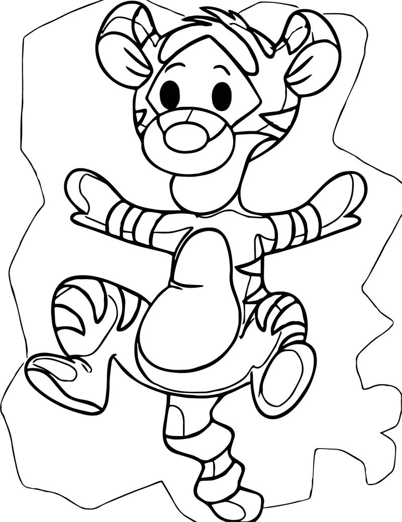 Child jump winnie the pooh coloring page