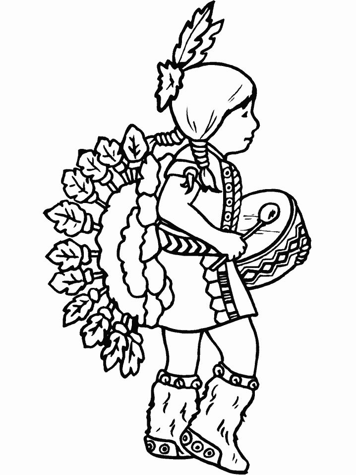 Child Native American Coloring Pages