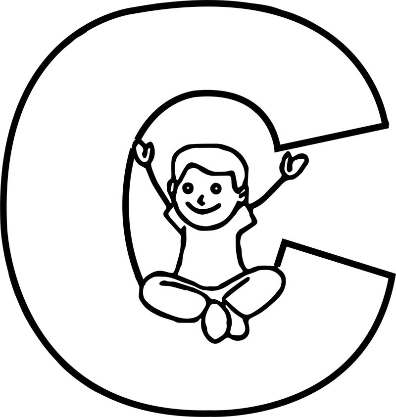 Children Alphabet C Letter Coloring Page