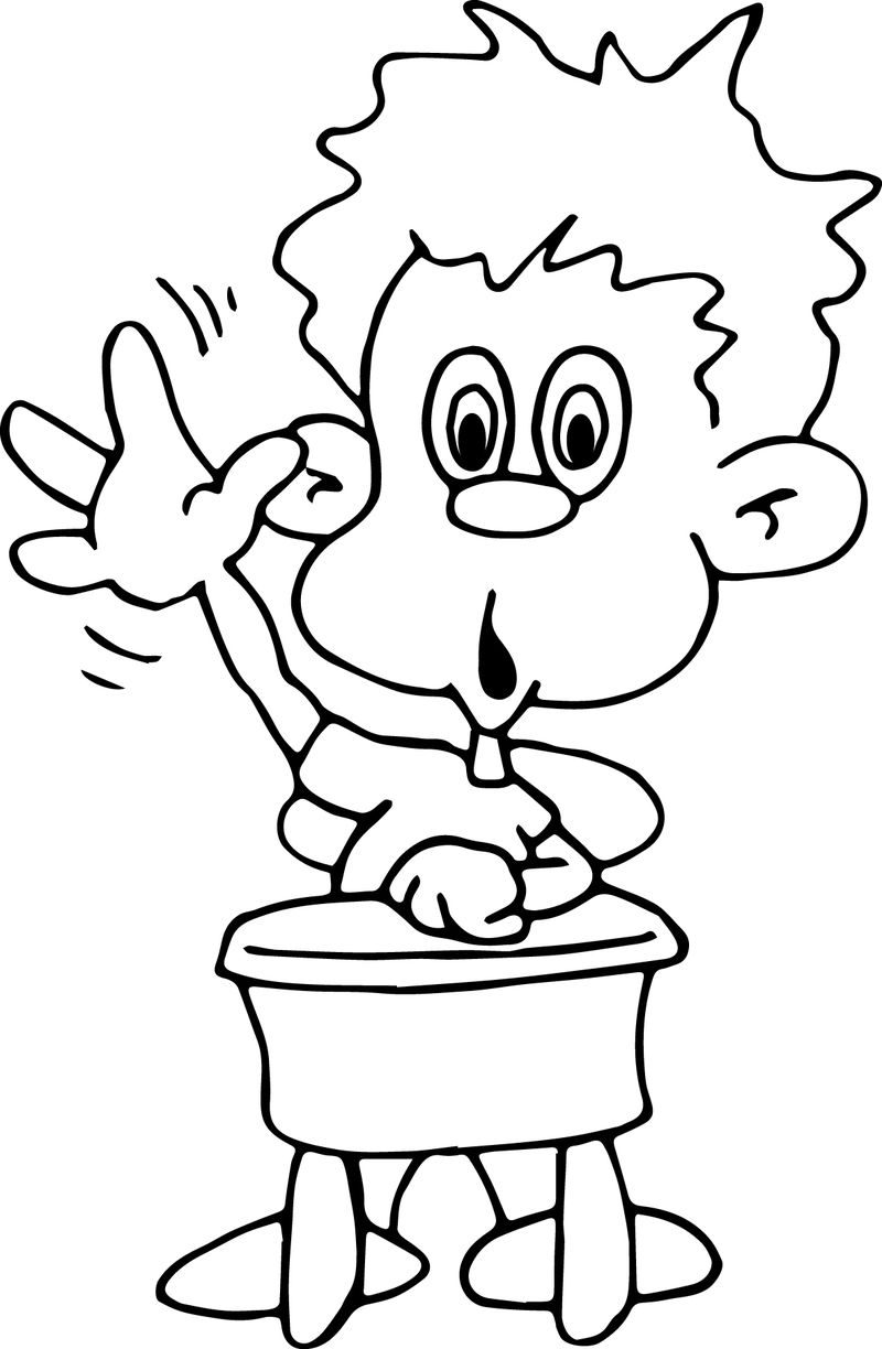 Children At The School Up Hand Coloring Page