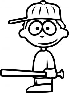 Children baseball coloring page