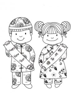Children chinese new year coloring pages