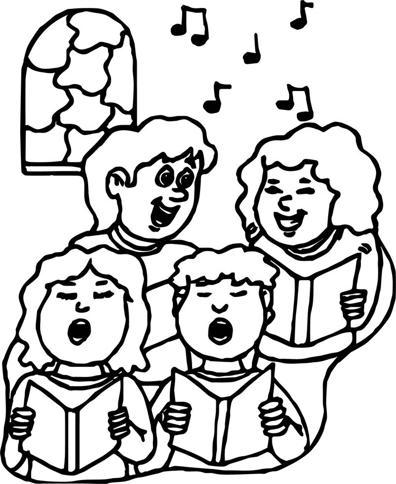 Children choir coloring page