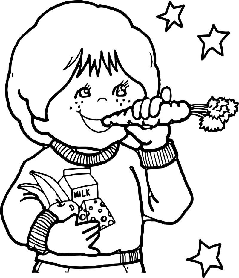 Children Eating Healthy Coloring Page