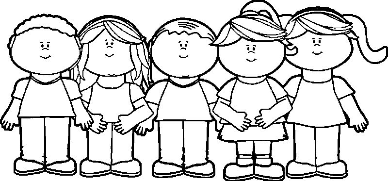 Children Happy Kids Coloring Page