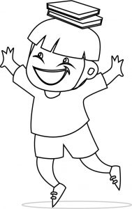 Children holding book on head coloring page