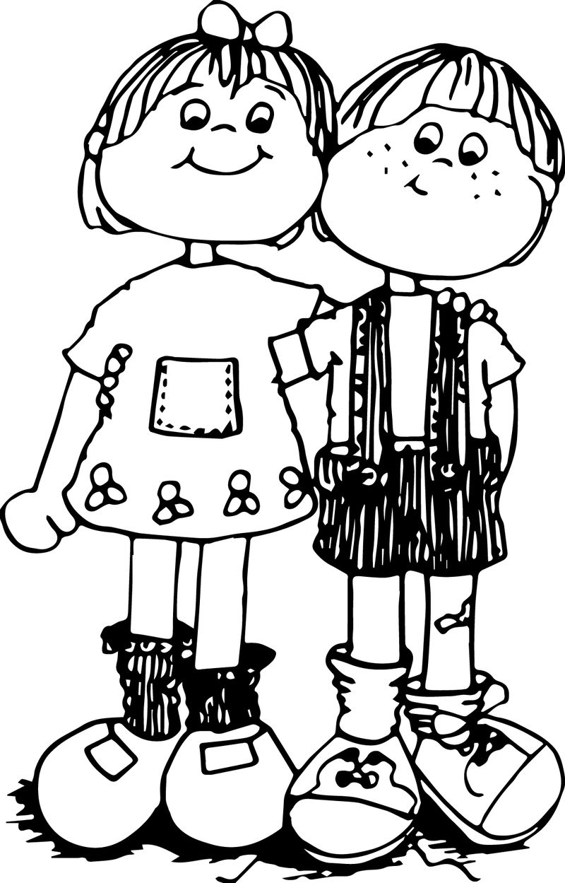 Children Hug Coloring Page