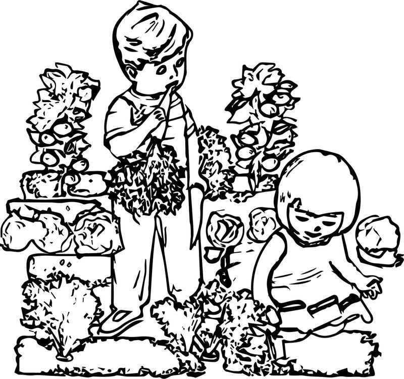 Children In The Garden Coloring Page