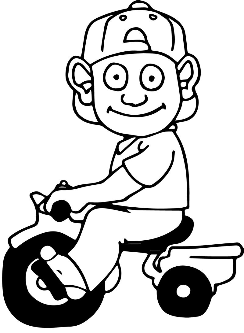Children On The Biycle Coloring Page