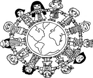 Children world coloring page