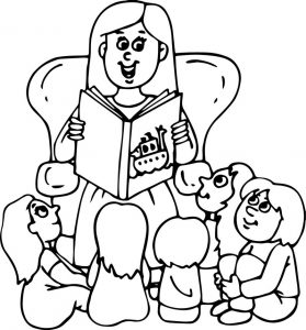 Childrens read book mommy coloring page