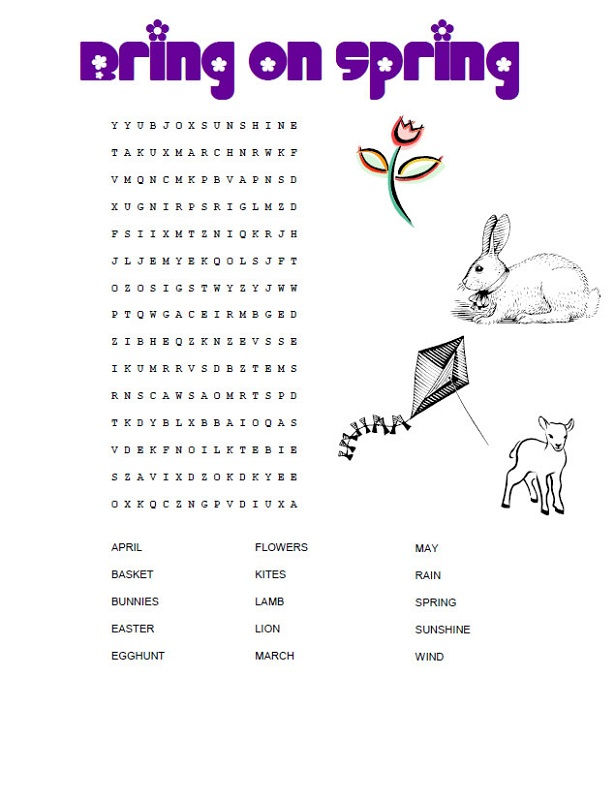 Childrens Word Search Spring