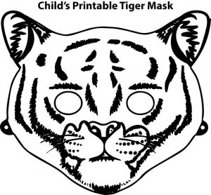 Childs printable tiger mask coloring page