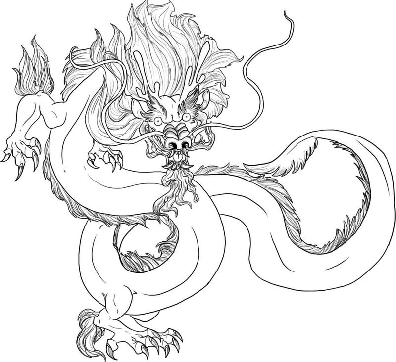 Chinese Dragon Coloring Page For Kids 001