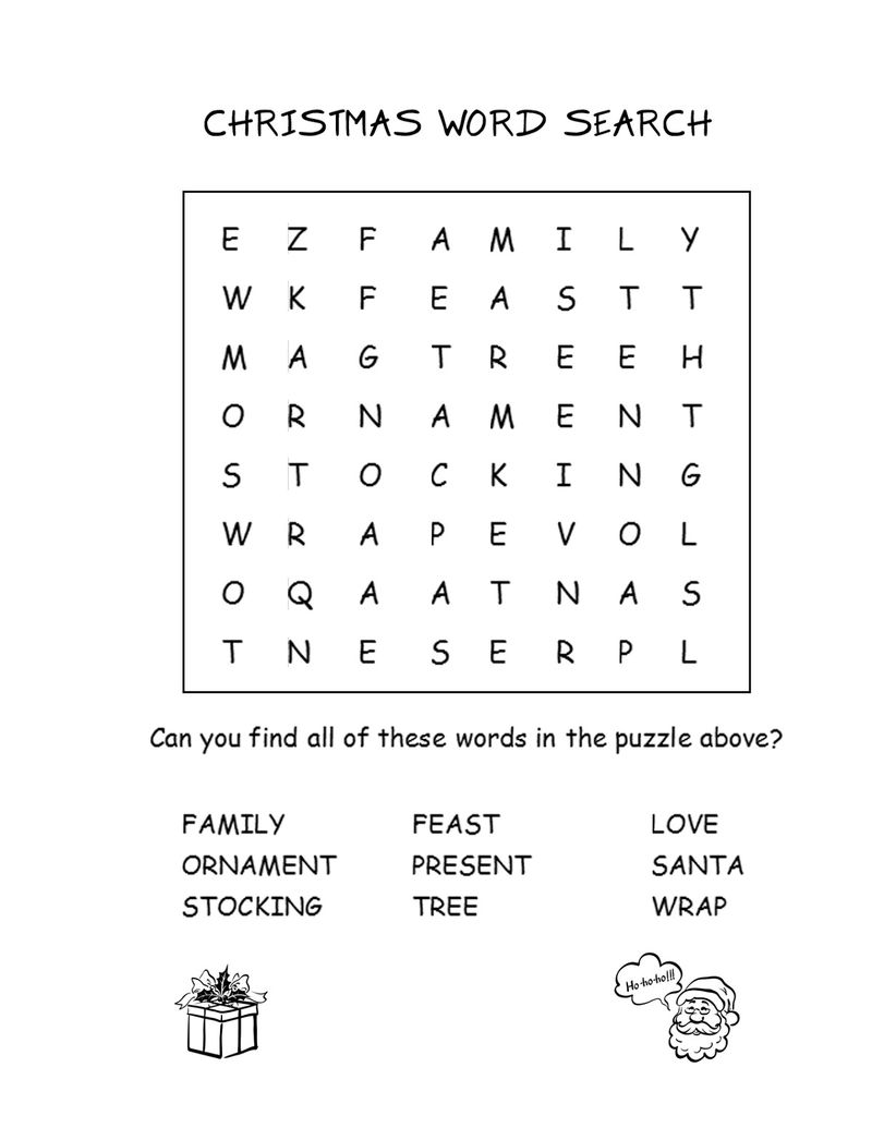 Christmas Activities Word Search