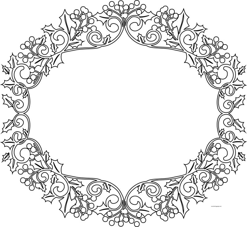 Christmas Border Flower Coloring Page