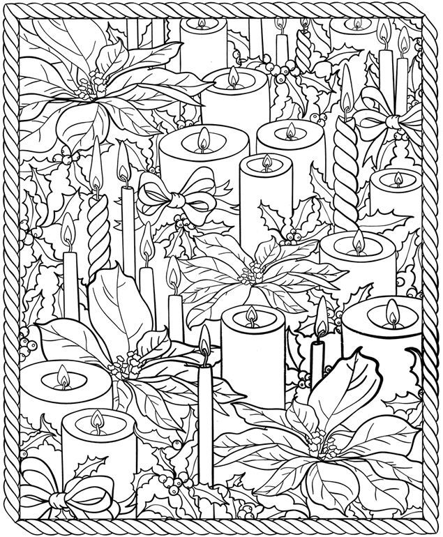 Christmas Candles Coloring Page For Adults