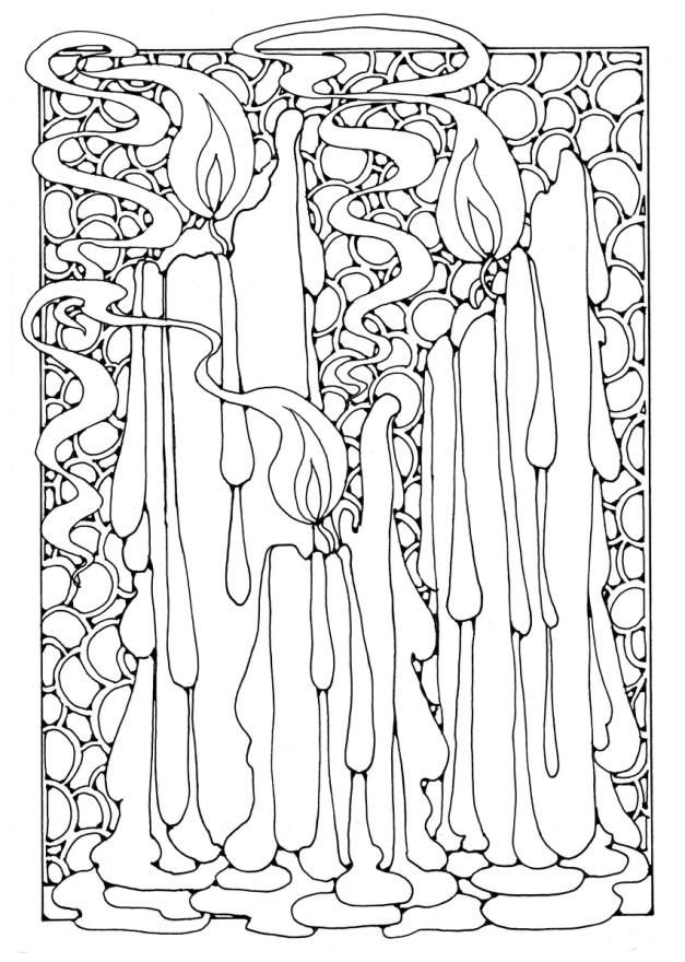Christmas Candles Coloring Pages For Adults