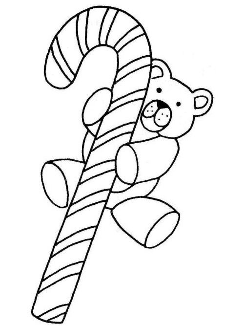 Christmas Candy Cane Coloring Page