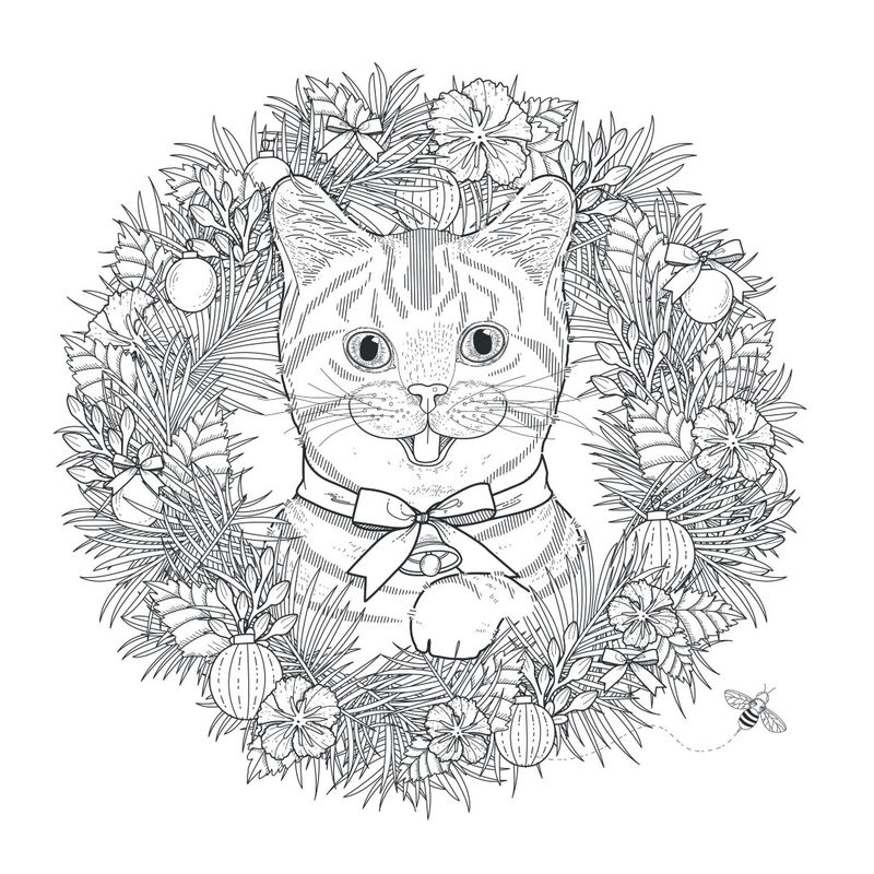 Christmas Cat Wreath Coloring Page