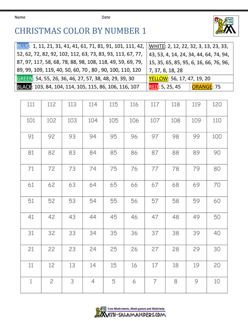 Christmas Color By Numbers Activity Sheet