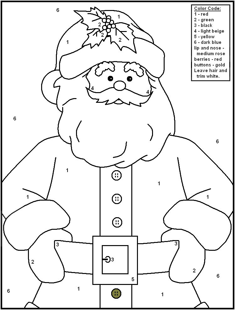 Christmas Color By Numbers Santa 001