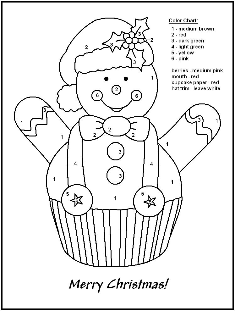 Christmas Color By Numbers Snowman Cupcake 001