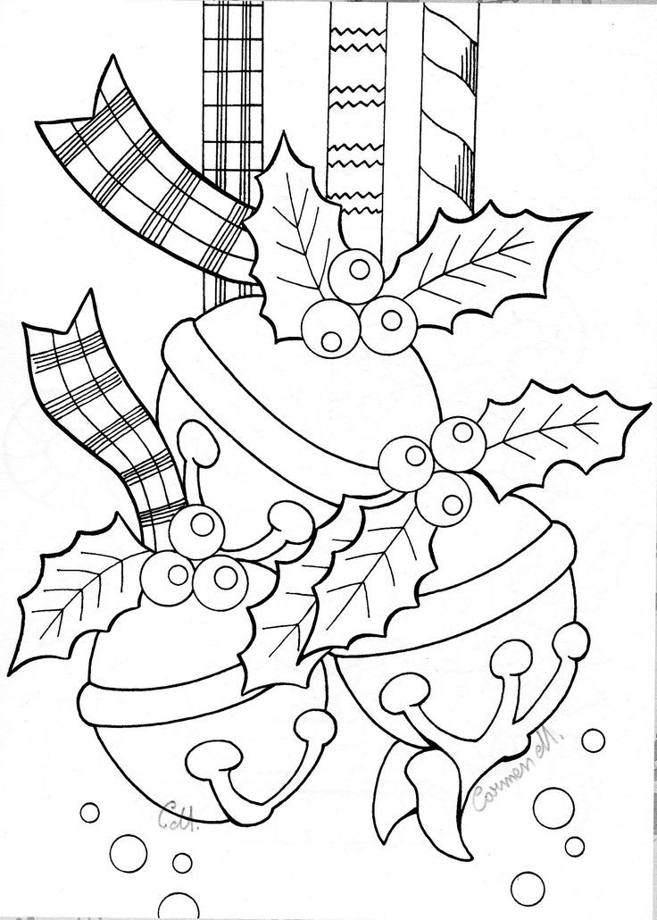 Christmas Coloring Pages Jingle Bell Ornaments