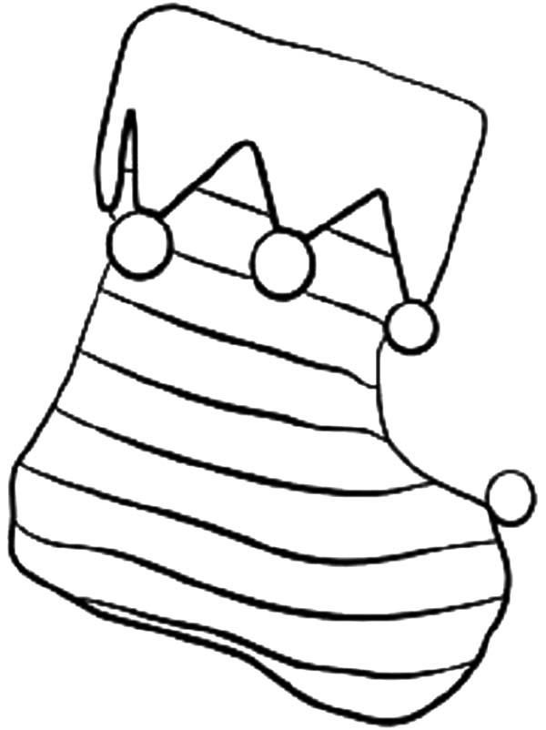 Christmas Coloring Pages Striped Stocking
