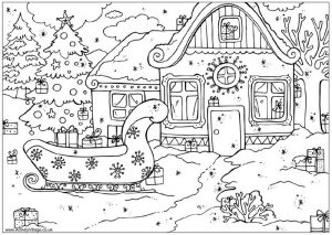 Christmas coloring pages winter scene