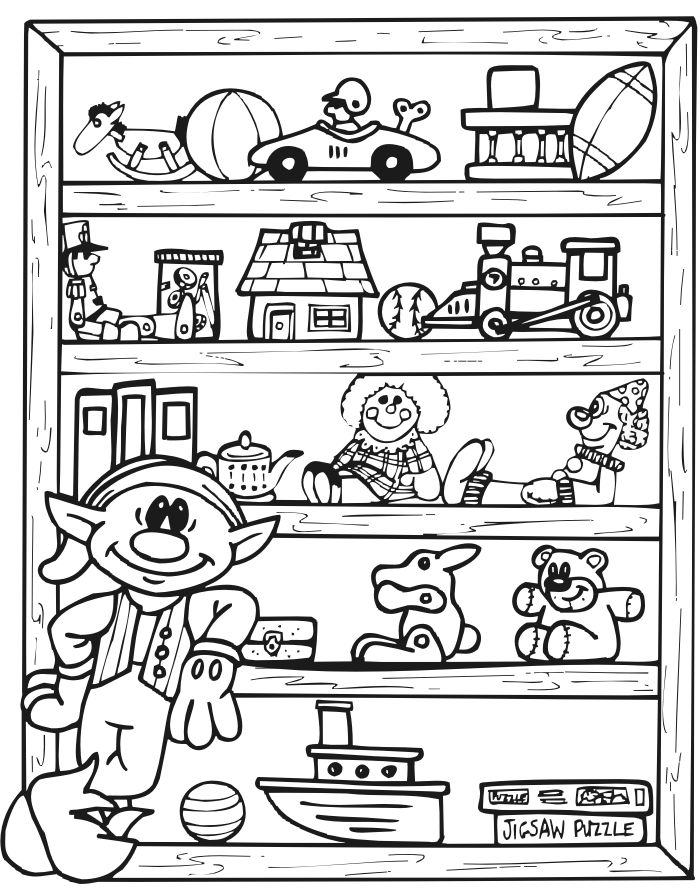 Christmas Elf And Toys Coloring Page