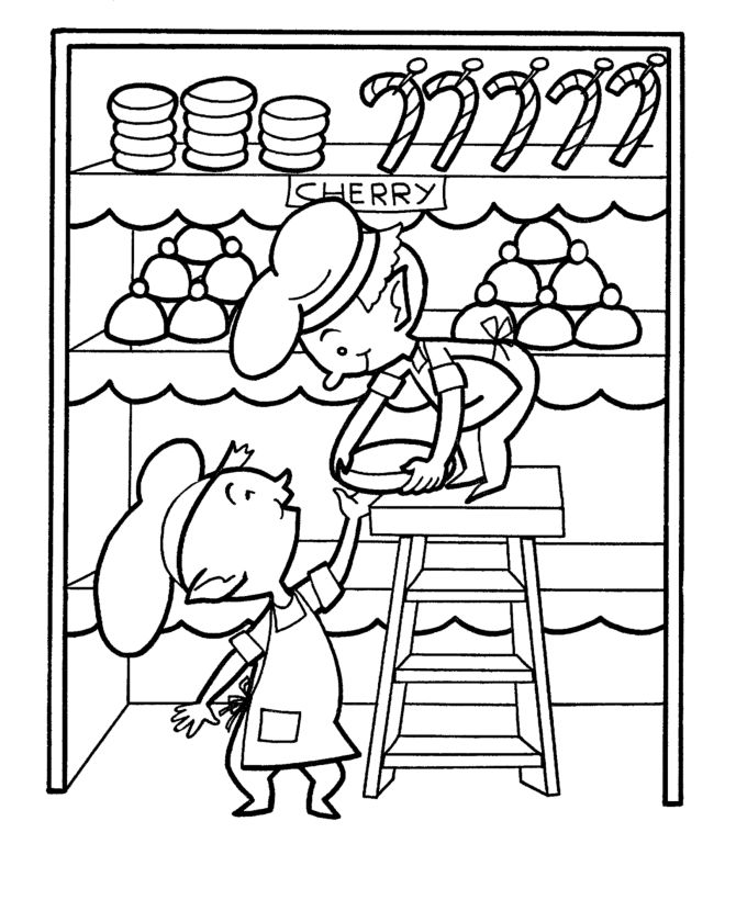 Christmas Elf Baking Coloring Pages