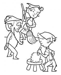 Christmas elf cleaning up coloring page