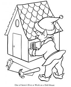 Christmas elf making dollhouse coloring page
