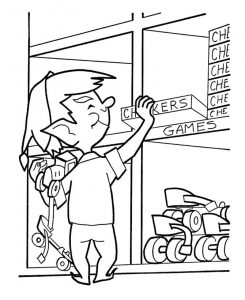 Christmas elf picking games coloring pages